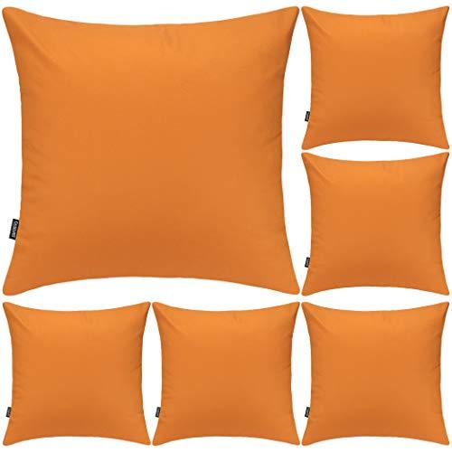 Juego de 6 fundas de almohada decorativas 100% algodón, 45 x 45 cm, diseño cuadrado, color naranja calabaza, paquete de 6 unidades, 45 x 45 cm