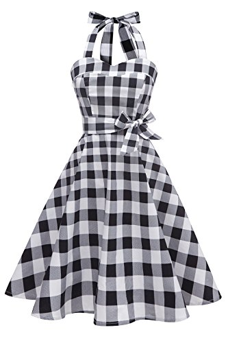 Topdress Women's Vintage Polka Audrey Dress 1950s Halter Retro Cocktail Dress Black White Plaid M