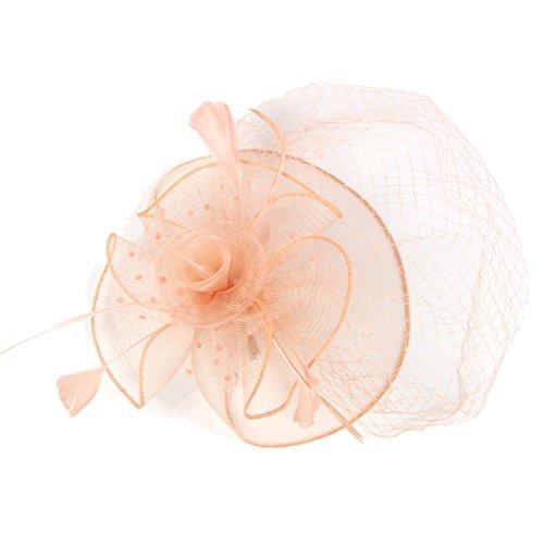 dressfan Blume Stirnband Vogelkäfig Polka Dot Mesh Bridal Face Schleier Feder Fascinator Haarspange