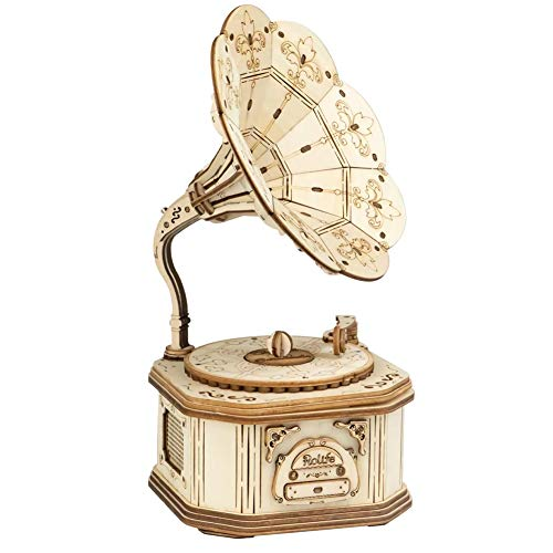 3d Wooden Puzzle, DIY 3D Woodcraft Gramophone Model Building Kit, Construction Kit Model Kits For Kids, Teens and Adult (Gramophone)