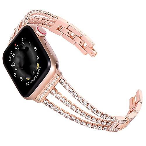 WSYGHP Correa de repuesto para Apple Watch con funda de 38 mm, 40 mm, 42 mm, 44 mm, para mujer, con diamantes de imitación, para pulsera iWatch Series 5/4/3/2/1 (color: dorado, tamaño: 42 mm)