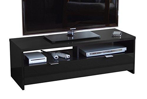 Berlioz Creations Banco / Edison Meuble TV, Noir brillant, 110 x 41 x 38 cm, Fabrication 100% Française