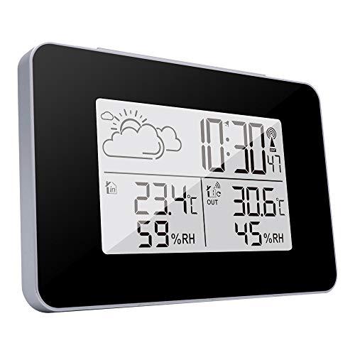 TiooDre Estacion Meteorologica Interior Exterior, Estacion Meteorologica Inalambrica con Reloj Termometro Higrometro Digital Función (Negro)