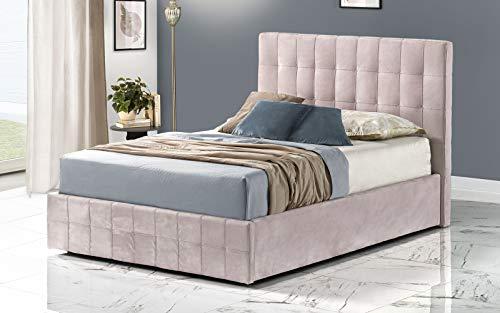Cama de una plaza y media con canapé, tapizado en terciopelo rosa, somier ortopédico de láminas de madera, 139 x 207 x 114 cm.