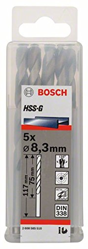 Bosch Professional Metallbohrer HSS-G geschliffen (5 Stück, Ø 8,3 mm)
