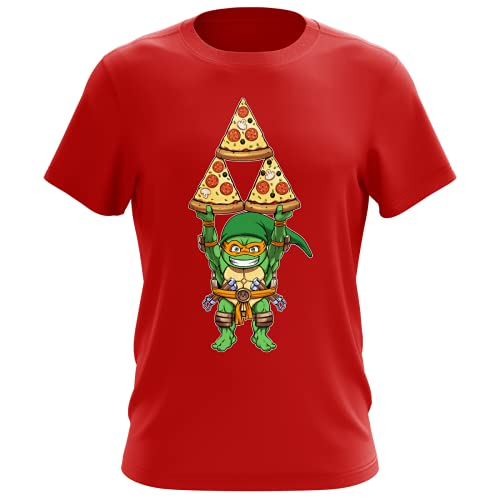 OKIWOKI Maglietta Rossa da Uomo Parodia Tartarughe Ninja - Zelda - Michelangelo AKA Link - (T-Shirt di qualità Premium in Taglia XL - Stampata in Francia - RIF : 1082)