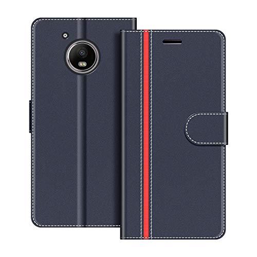 COODIO Handyhülle für Motorola Moto G5 Handy Hülle, Motorola Moto G5 Hülle Leder Handytasche für Motorola Moto G5 Klapphülle Tasche, Dunkel Blau/Rot