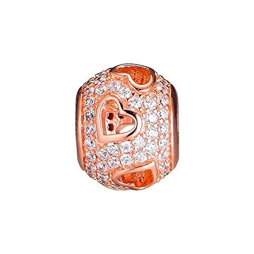 LIIHVYI Pandora Charms para Mujeres Cuentas Plata De Ley 925 Joyas Transparentes De Corazones Que Caen De Color Rosa Compatible con Pulseras Europeos Collars