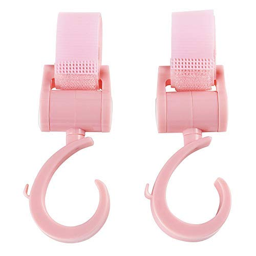 Stroller HooksMulti Purpose HookHanger Clipsfor Diaper Bags,Purses,Shopping Bags,PerfectStrollerAccessory forFree Your Hands (Pink)