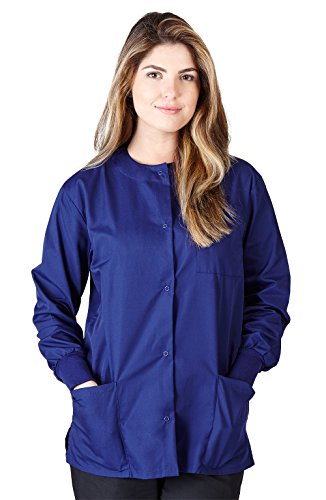 Natural Uniforms Women's Workwear Lightweight Warm Up Jacket (Navy Blue) (Large)