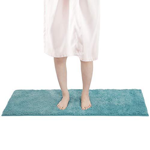 FRESHMINT Bath Mat Set, Large Size 16.5 x 47 inch, Bathroom Rugs Fleece Flannel Thick Memory Foam Padded, Super Absorbent Bath Rug, Soft, Non-Slip, Super Cozy Velvet Floor Mat, Blue