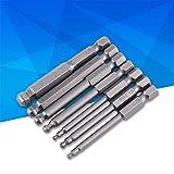 Puntas de destornillador de bola magnética, 7 piezas 1/4 '' Vástago hexagonal 2/2.5/3/4/5/6 / 8mm Juego de puntas de 65 mm, Hecho de material S2, Material duradero, antiimpacto y resistente, para