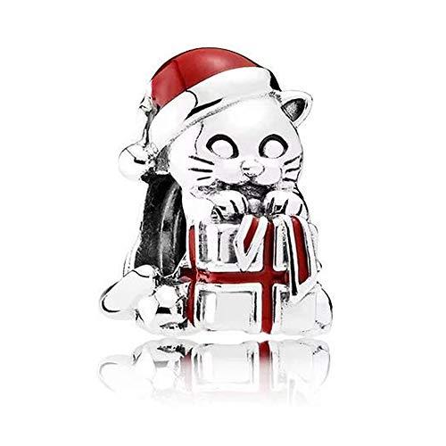 bakcci Europea Navidad Gfit gatito gato 925cuentas de plata se adapta para Original pulseras DIY Jewelry Making