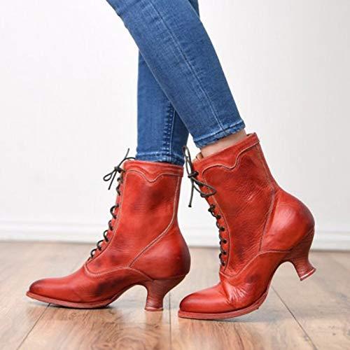 LYYJF Botas de tacón alto para mujer, de piel, antideslizantes, para caminar, cálidas al aire libre, para fiestas, botas, rojo, 41 EU