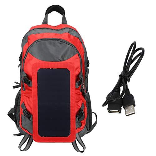 Pangdingk Mochila de Viaje, Mochila para Exteriores, Nylon + Cargador de Panel Solar de algodón Perlado para Viajes por el Desierto Senderismo Montañismo Pesca(Red)