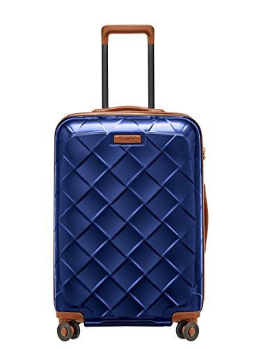 STRATIC Leather & More Hartschalen-Koffer Trolley Rollkoffer Reisekoffer 4 Rollen TSA-Zahlenschloss, Größe M, leicht und leise, Blue