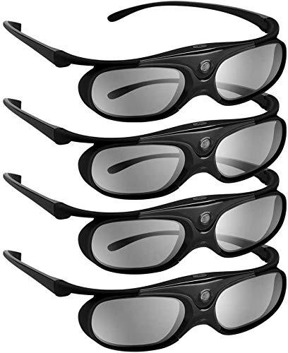 BOBLOV DLP Link 3D Glasses 4 Pack, Rechargeable 144Hz 3D Active...