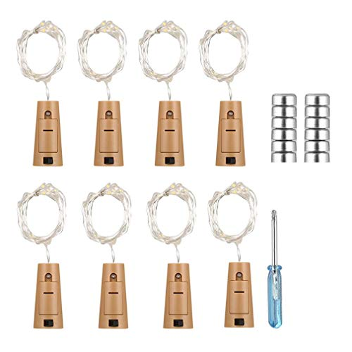 GLA 8pcs 18 LEDs String Light Copper Wire Wine Bottles Cork Lights Lamp Battery Powered for Christmas Wedding Party Decoration (Colorful Flashing)