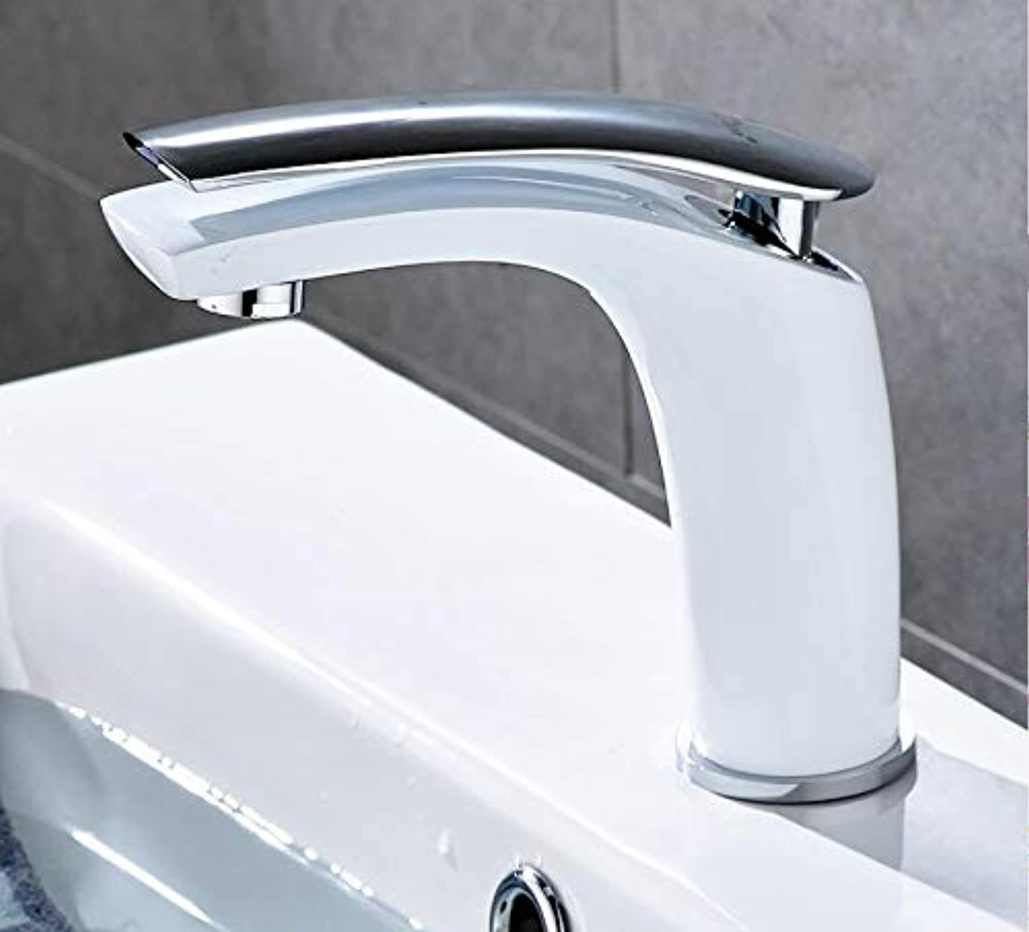 Basin Faucet Faucetwhite Face Single Holder Single Hole Mounted Sink Taps Cold and Hot Mixer for Bathroom Black Basin Tap