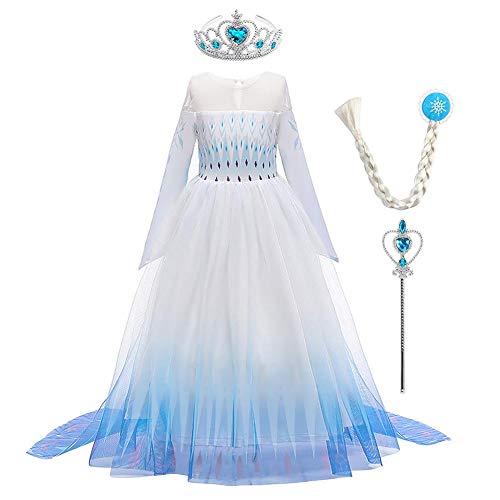 OBEEII Mädchen Frozen 2 ELSA Kleid Schneekönigin Prinzessin Karneval Kostüm Schneeflocke Tüll Kleid Weihnachten Verkleidung Geburtstag Partykleid 5-6 Jahre