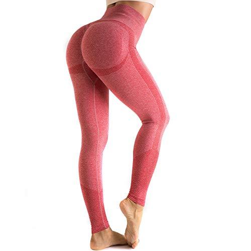 OUDOTA Damen Sports Leggings Slim Fit Hohe Taille Lange mit Bauchkontrolle Sport Blickdicht Yogahose Fitnesshose Laufhose Tights für zum Laufen, Radfahren, Fitness Mit Duft S 1 Rot