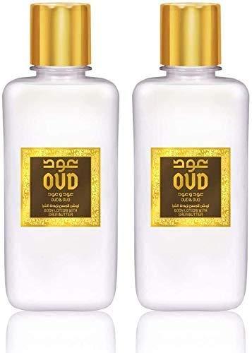 Lot de 2 Crèmes Lotion Lait Parfumé Hydratant Oud Oud 300ml Pour le Corps et Visage Homme et Femme Notes: Poivre, Jasmin, Oud