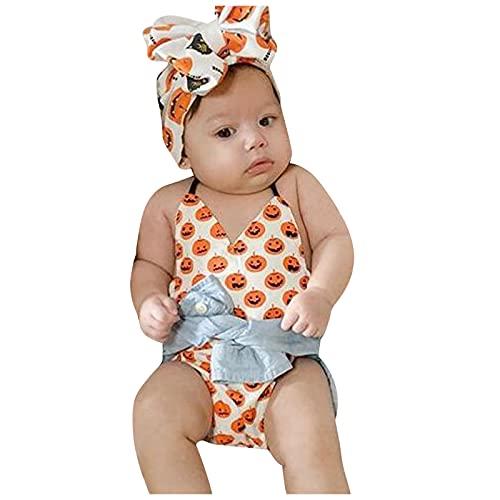 YWLINK Bebé Sin Mangas Halter Halloween Pumpkin Printed Romper + Headband Set Ropa De Gateo para ReciéN Nacidos Traje De Ceremonia De Bautizo Lindo Y FáCil De Poner Y Quitar