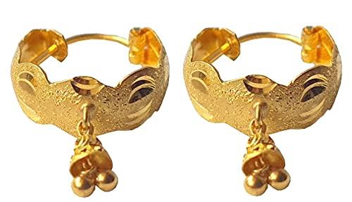 Sólido puro de 18 quilates 18 quilates amarillo oro fino hermoso del diseño del aro en altura 2,5 cm Ancho-1.5cm para las mujeres, las niñas, niños, para hombre Bali
