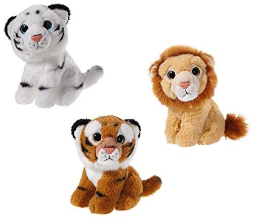 Heunec 519909 Plüschtier, Set, Löwe, Tiger, Pandabär, braun/schwarz/weiß