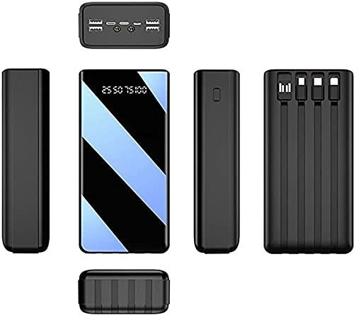 N - A 50000Mah Power Bank Cargador Portatil Movil, Bateria Portatil, Batería Externa Ultra Capacidad, 4 Entradas Y 7 Salidas, con Pantalla LED Y Linterna Powerbank para iPhone Samsung iPad Y Otros