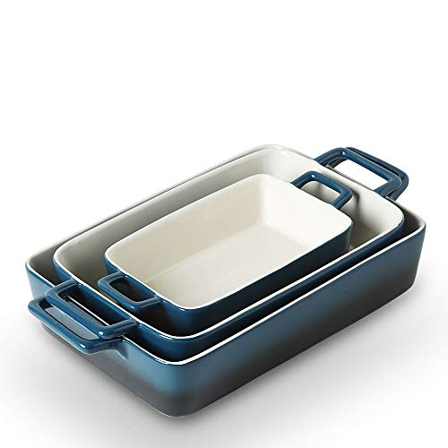 KOOV Bakeware Set, Ceramic Baking Dish, Rectangular Baking Pans Set, Casserole Dish for Cooking, Cake Dinner, Kitchen, Wrapping Upgrade, 12 x 8.5 Inches, 3-Piece (Gradient Blue)