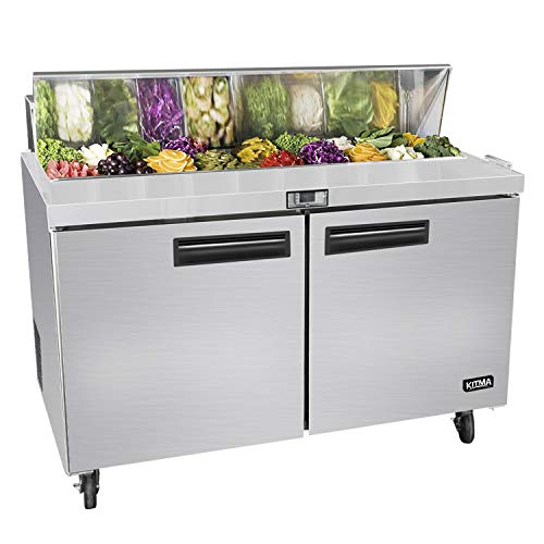 KITMA Commercial 48 Inches 2 Door Sandwich Salad Prep Table Refrigerator - 12 Cu.Ft - 12 Pan