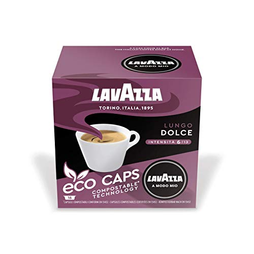 Lavazza A Modo Mio Eco Kaffeekapseln - Lungo Dolce - kompostierbar - 6 x 16 Kapseln - 6er Pack (6 x 120g)