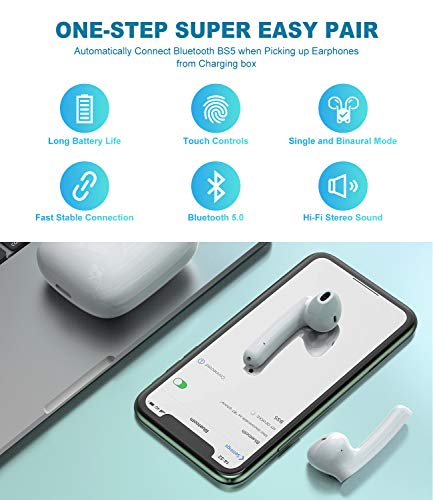 True Wireless Earbuds Bluetooth 5.0, Balhvit Wireless Headphones 40H Playtime Charging Case, IPX6 Waterproof Bluetooth Earbuds with Microphone, Hi-Fi Stereo Wireless Earphones Headsets for Sport/Work