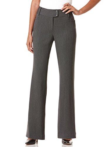 Rafaella Women's Petite Curvy Fit Gabardine Trouser, Graphite, 8 Petite