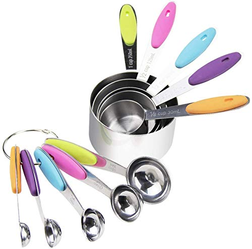 JHJLIB Messbecher und Löffel, 5 Measuring Cups & 5 schmalgenaue Messlöffel, 10er Set Multifunktions Trockene und Flüssige Zutaten für Küche Kochen Backen Küchenumrechnungstabelle