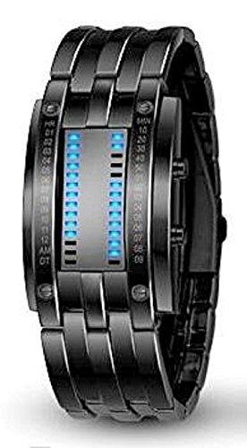 Pappi-Haunt Einzigartige Designer stilvolle Metallic-schwarze Kette LED Armband Digital Armbanduhr für Jungen Herren