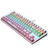 LEXIANG Tastiera da Gioco cablata USB K550, Tastiera da Gioco Meccanica retroilluminata a LED con Arcobaleno Punk Verde Axis