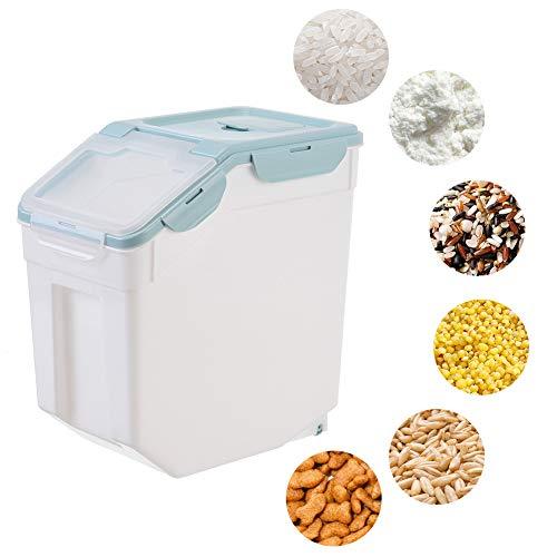 Reis Box 10/15/25KG Reisbox Aufbewahrung MüSlibehäLter Luftdichter Lebensmittel Aufbewahrungsbox Mit Messbecher Reis VorratsbehäLter FüR Getreide Mehl Tierfutter,Blau,25KG