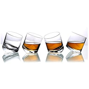 MyGift Tilting Whiskey Scotch Clear Glass, Highball Tumbler Party Glasses (10oz), Set of 4 in Gift Box
