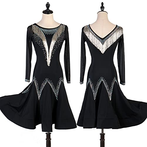 Vestido De Baile Latino Cristales/Rhinestones Femenino Entrenamiento Rendimiento Manga Larga Elastano Natural Tulle,Negro,2XLarge