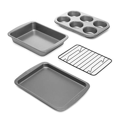 Ecolution Toaster Oven Bakeware 4Piece Set Nonstick Heavy Duty Carbon Steel, 4-Piece, Gray