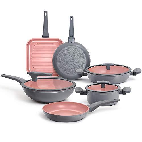 SHINEURI - Set di pentole antiaderenti antiaderenti, pentole e padelle con coperchi e manici, per wok, padelle e padelle per piani cottura, lavabili in lavastoviglie e utilizzabili in forno Grigio - Set di pentole e padelle da 9 pezzi