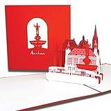 """3D Karte """" Aachen – Skyline mit Aachener Dom"""", Pop-Up Grußkarte als Reisegutschein, Geburtstagskarte, Geschenkgutschein, Karte mit Umschlag, Klappkarte"""