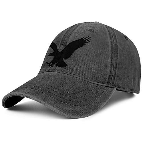 Unisex Trendy Black American Eagle Denim Dad Hat Packable Yard Work Baseball Hat