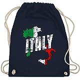 Shirtracer Länder - Italy Umriss Vintage - Unisize - Navy Blau - turnbeutel italy - WM110 - Turnbeutel und Stoffbeutel aus Baumwolle