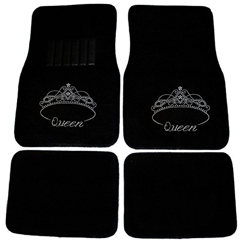 CarsCover Royal Queen Crown Crystal Diamond Bling Rhinestone Studded Carpet Car SUV Truck Floor Mats 4 PCS