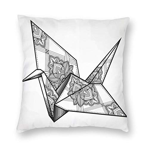 Funda de cojín decorativa estilo origami, diseño de grulla dibujada a mano, monocromo Lejano Oriente Asiático, diseño folclore de color amarillo, funda de cojín de 45,7 x 45,7 cm