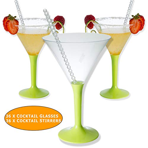 36 Premium Einweg Plastik Wiederverwendbar Martini Gläser, Cocktailgläser mit Rührer für Partys, Geburtstage, Weihnachten, Neujahr