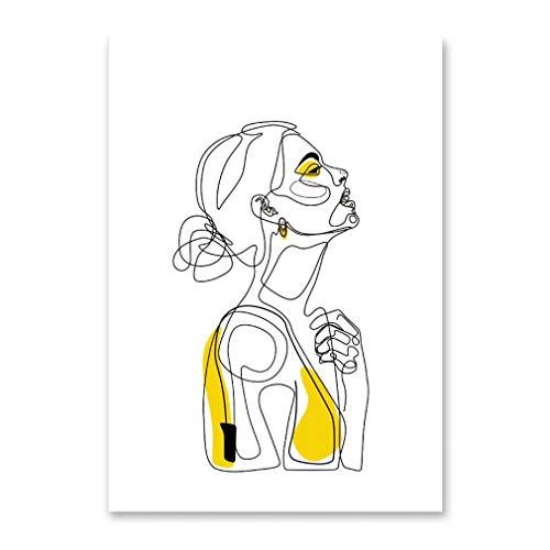 YCOLLC Mujeres Abstractas De Dibujo Lineal Nordic Poster & Prints Moderno Arte De La Pared Pintura De La Lona Minimalista Cuadro De La Pared para El Dormitorio Decoración para El Hogar